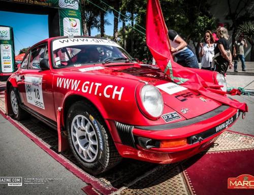 La Porsche GIT au départ du Maroc Historic Rally