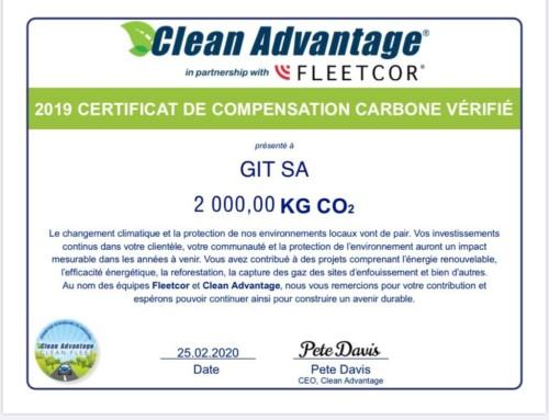 Certificat – GIT compense son empreinte carbone